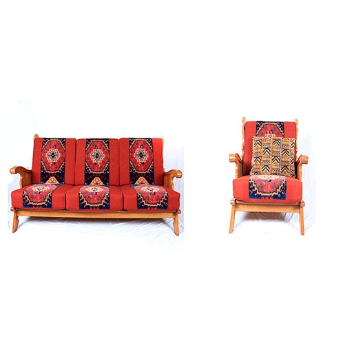Armchair and Sofa with Anatolian Style Upholstery