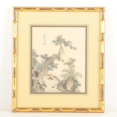 East Asian Ink and Watercolor Painting on Silk of Figures in Mountain Landscape