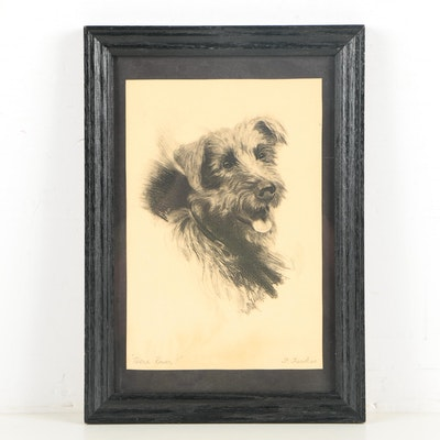 """Frank Farkas Etching """"Here Rover!"""""""