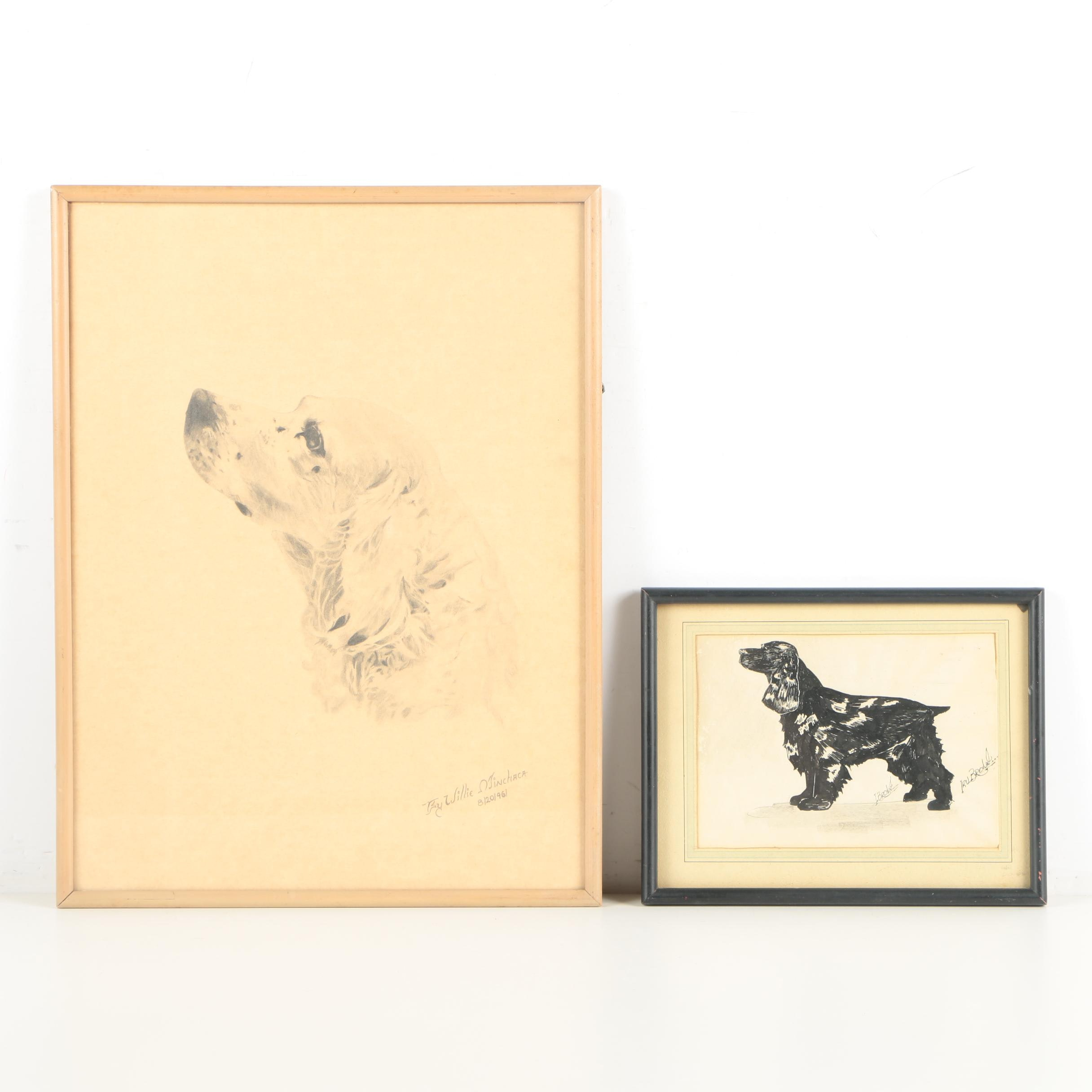 Irv Brown and Willie Minchaca Drawings of Cocker Spaniels