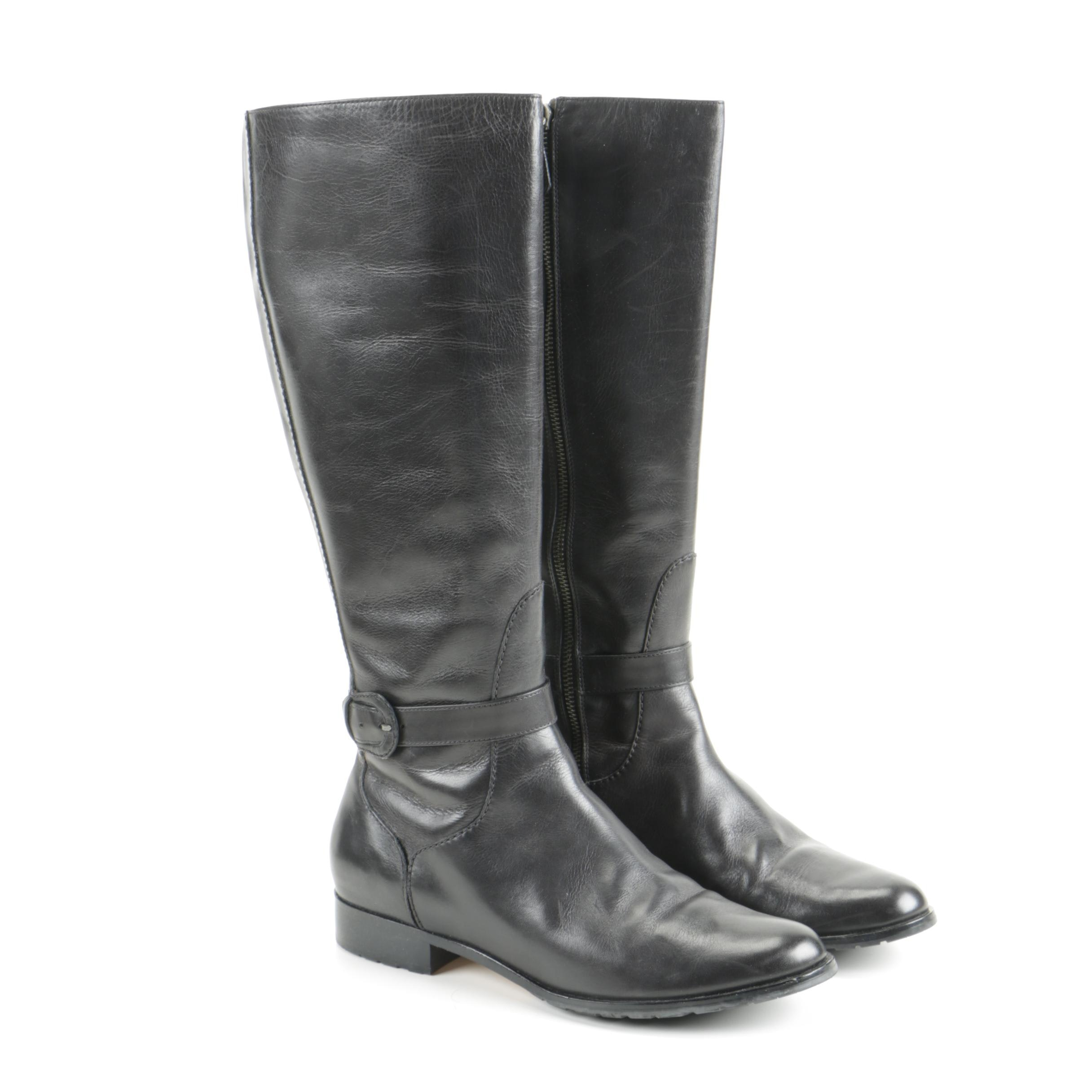Cole Haan Embossed Leather Mid-Calf Boots