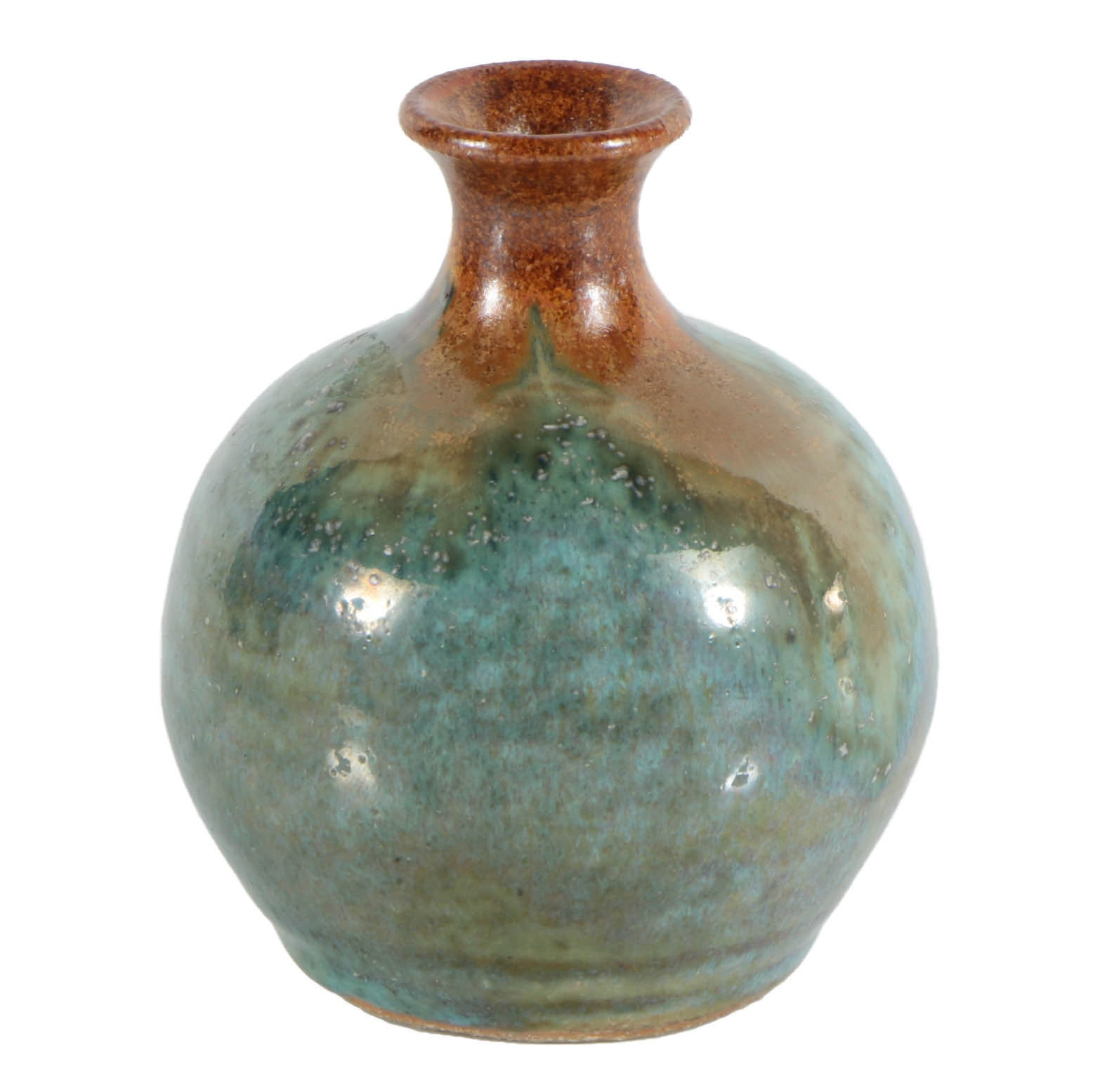 Pigeon Forge Pottery Cabinet Vase with Copper and Turquoise Glaze