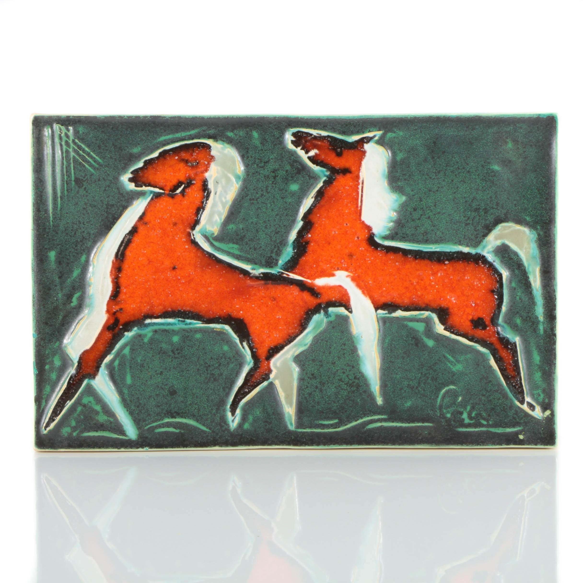 Helmut Schäffenacker Ceramic Wall Plaque of Horses