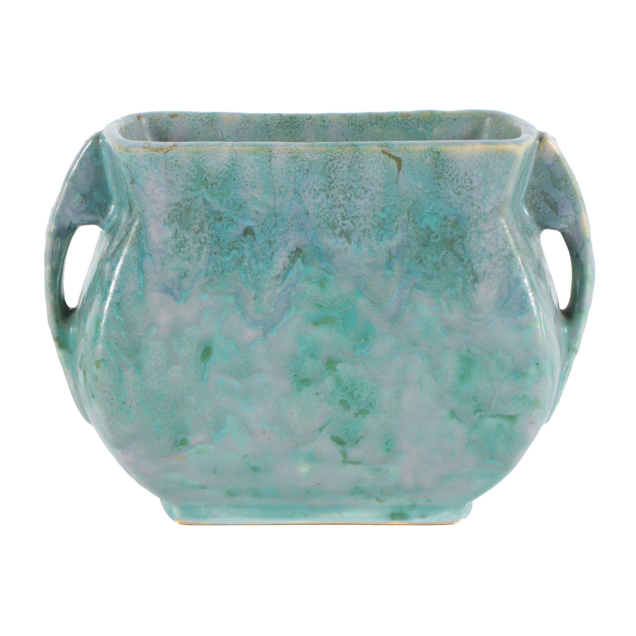 "Roseville ""Carnelian II"" Ceramic Handled Vase"