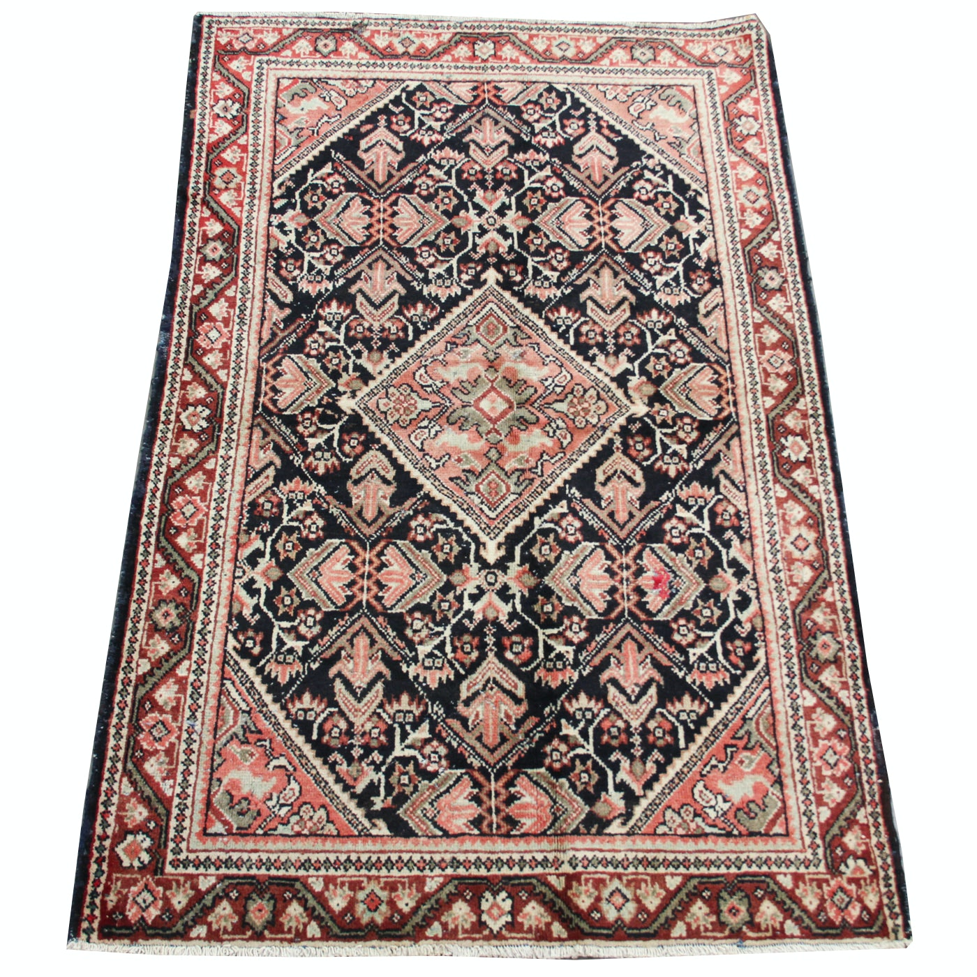 Semi-Antique Hand-Knotted Mahal Wool Area Rug