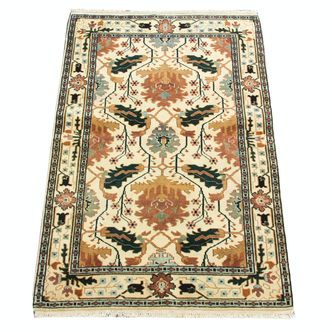 Hand-Knotted Indian Sultanabad Area Rug
