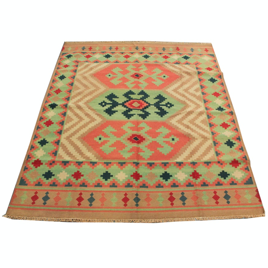 Hand-Woven Indian Kilim Area Rug
