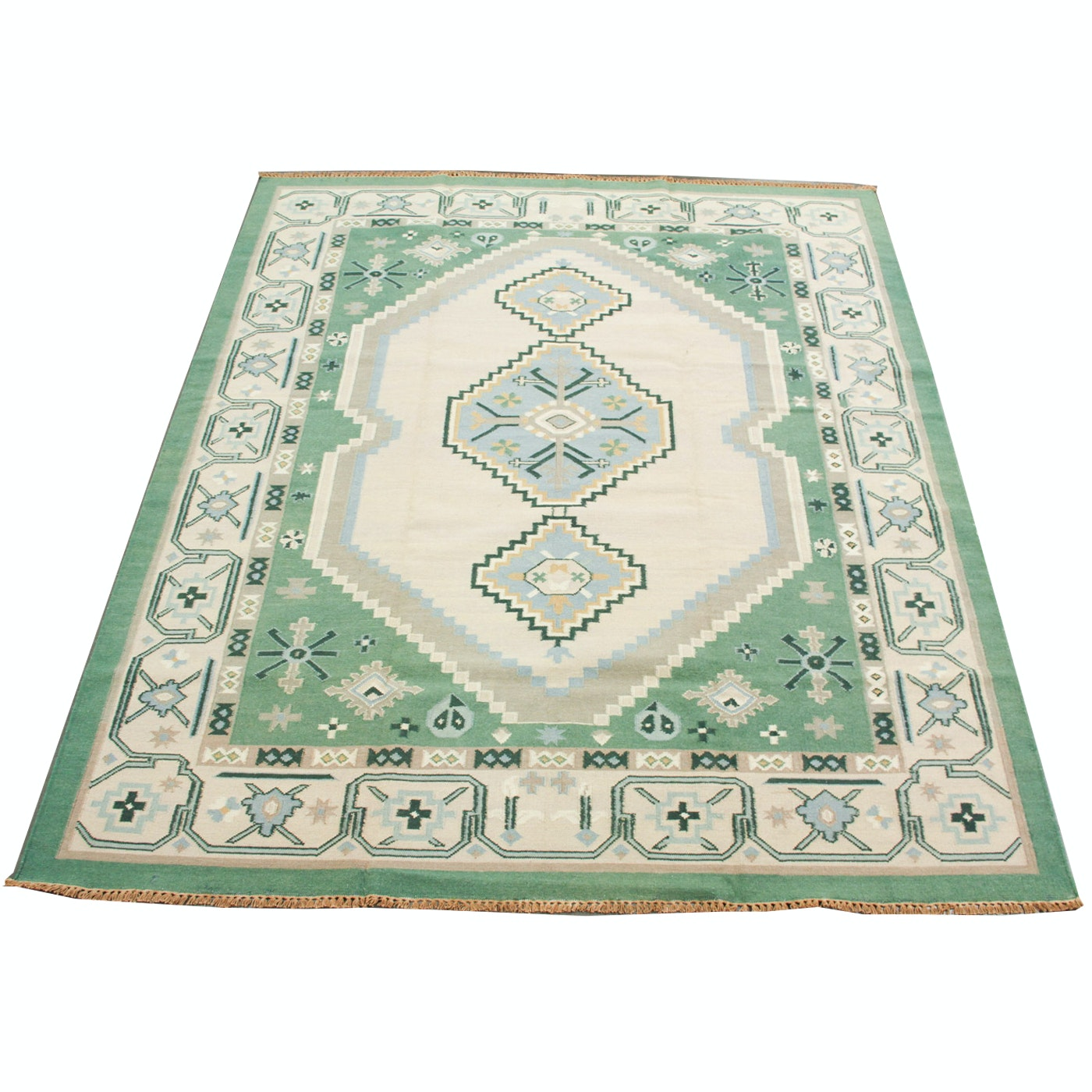 Hand-Woven Indian Dhurrie Area Rug