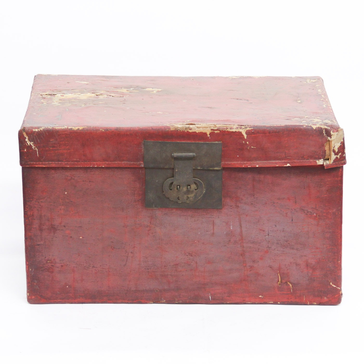 Antique Red Chinese Trunk