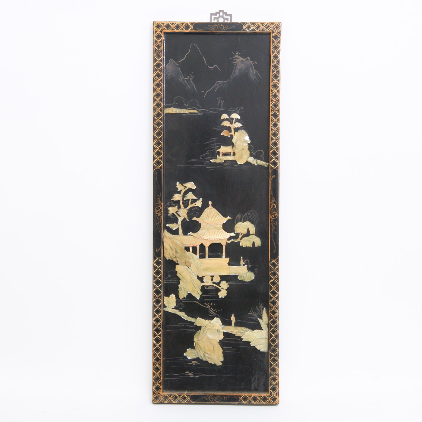 Vintage Chinese Black Lacquer and Mother of Pearl Panel