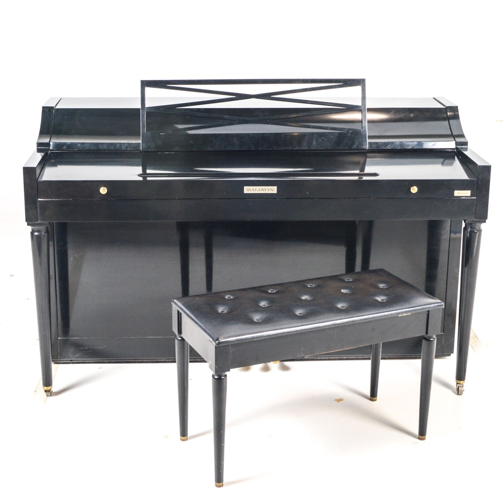 Vintage Baldwin Acrosonic Spinet Piano and Bench