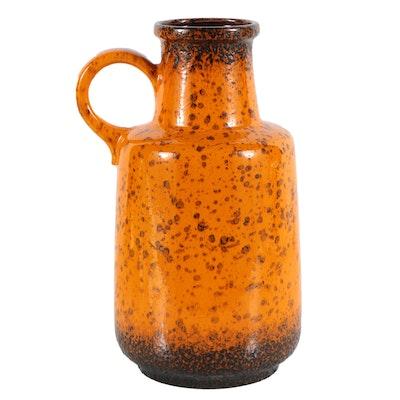 Scheurich Orange Fat Lava Floor Vase
