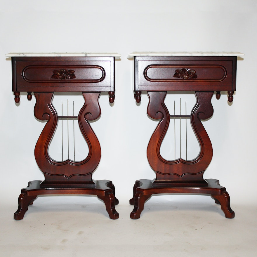 Marble Top Lyre Coffee Table: Victorian Style Marble Top Lyre Side Tables By Kimball