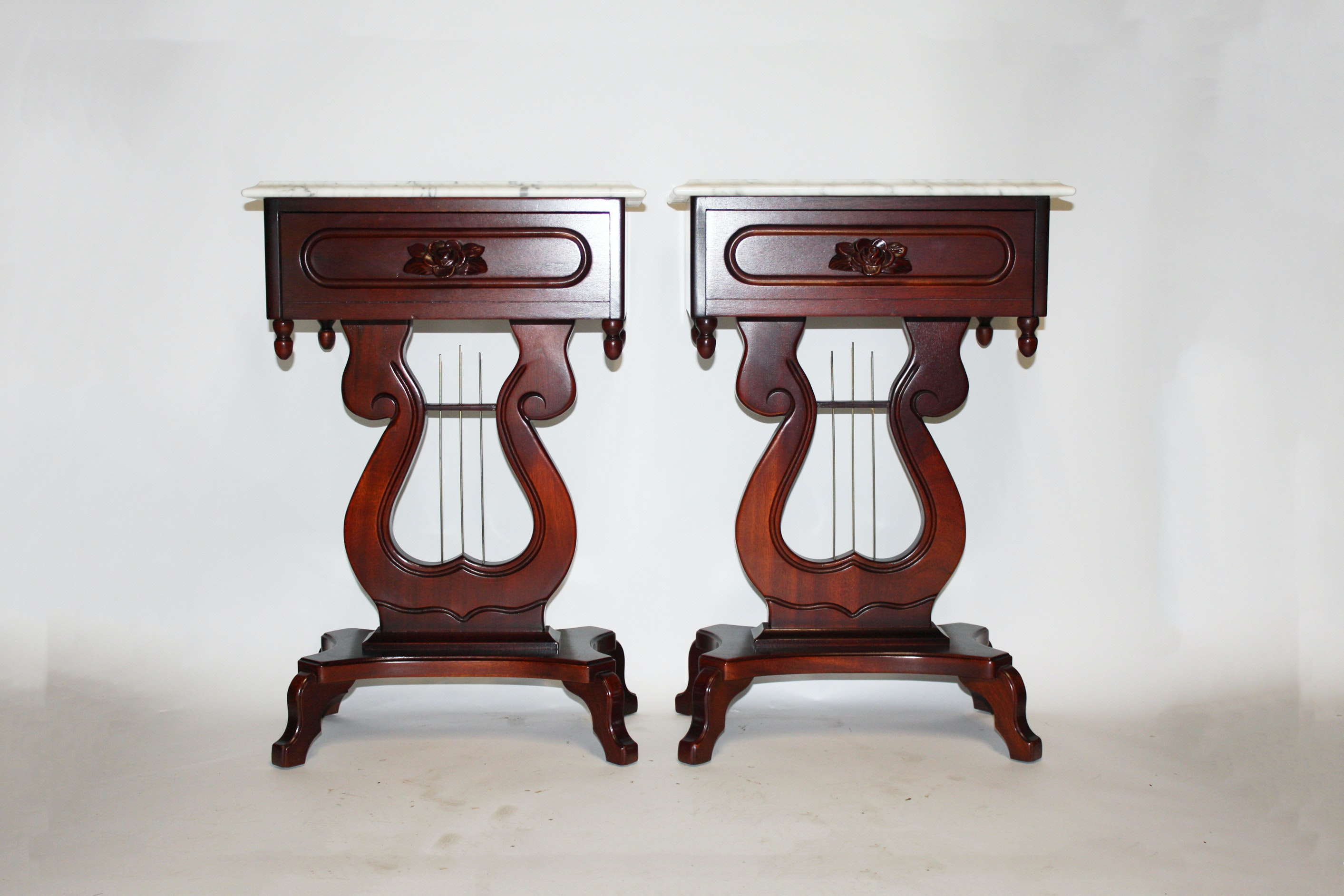 Delicieux Victorian Style Marble Top Lyre Side Tables By Kimball ...