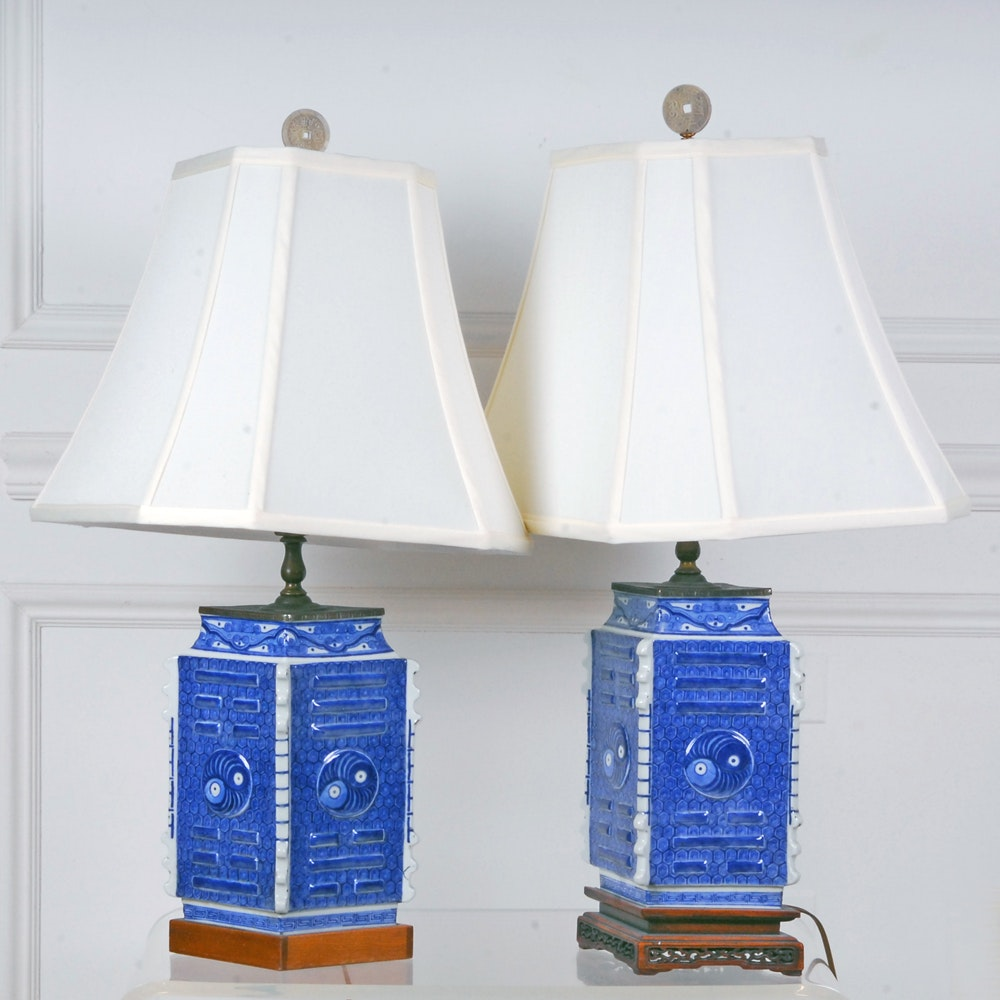 Pair of Chinese Blue and White Ceramic Table Lamps