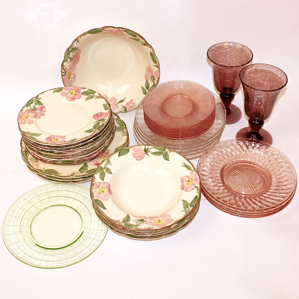 Franciscan \ Desert Rose\  Hand Decorated Luncheon Tableware with Vintage ... & Franciscan \