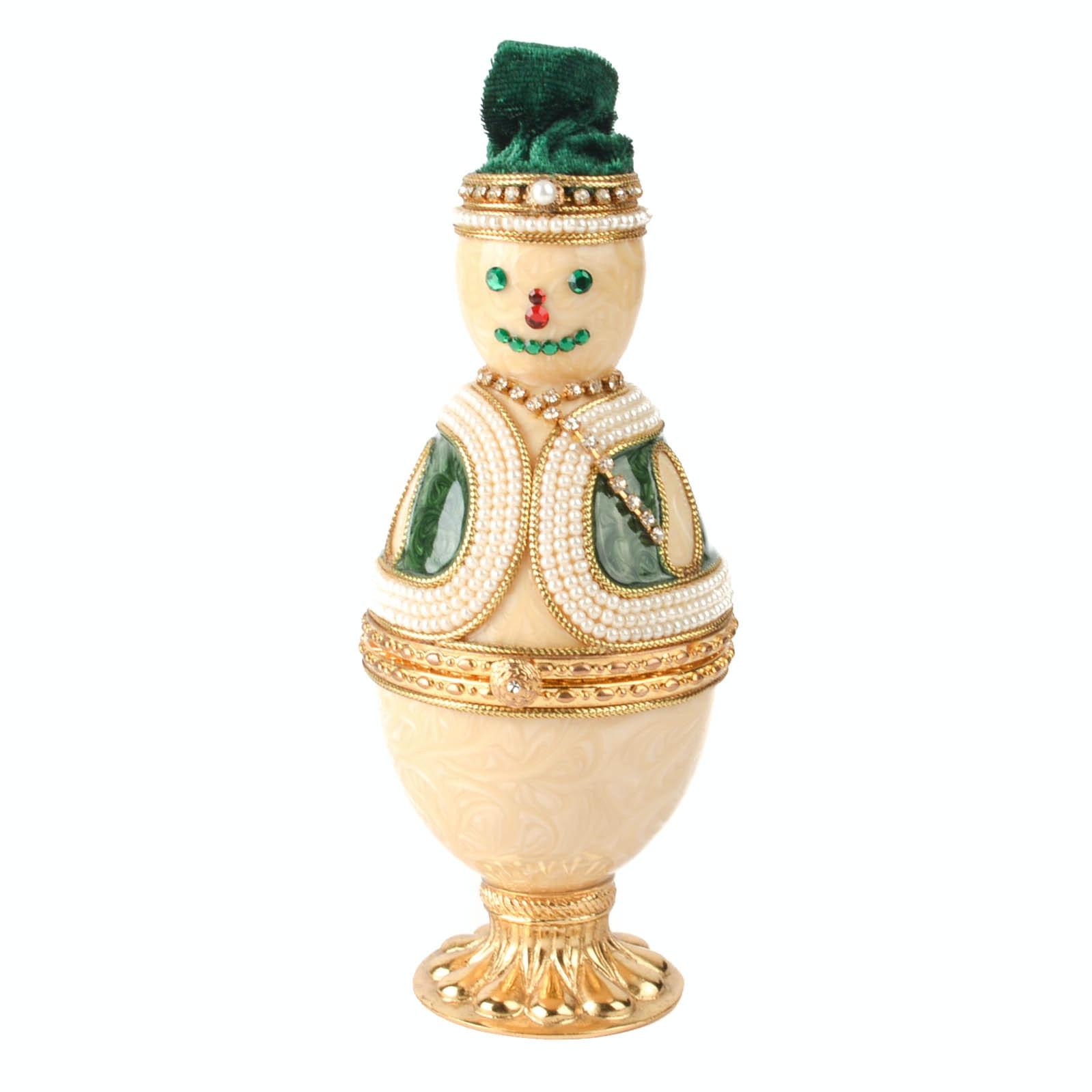 Enameled Snowman Trinket Box