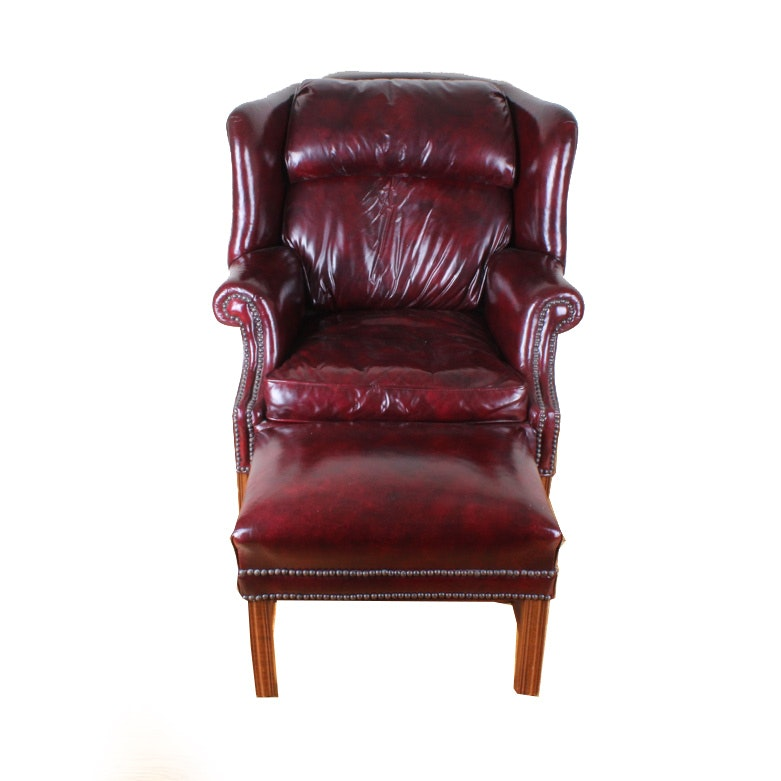 Chippendale Style Wingback Chair and Ottoman