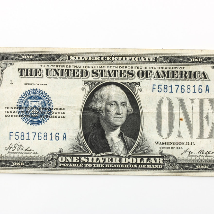 Series Of 1928 1 Funny Back Silver Certificate Ebth