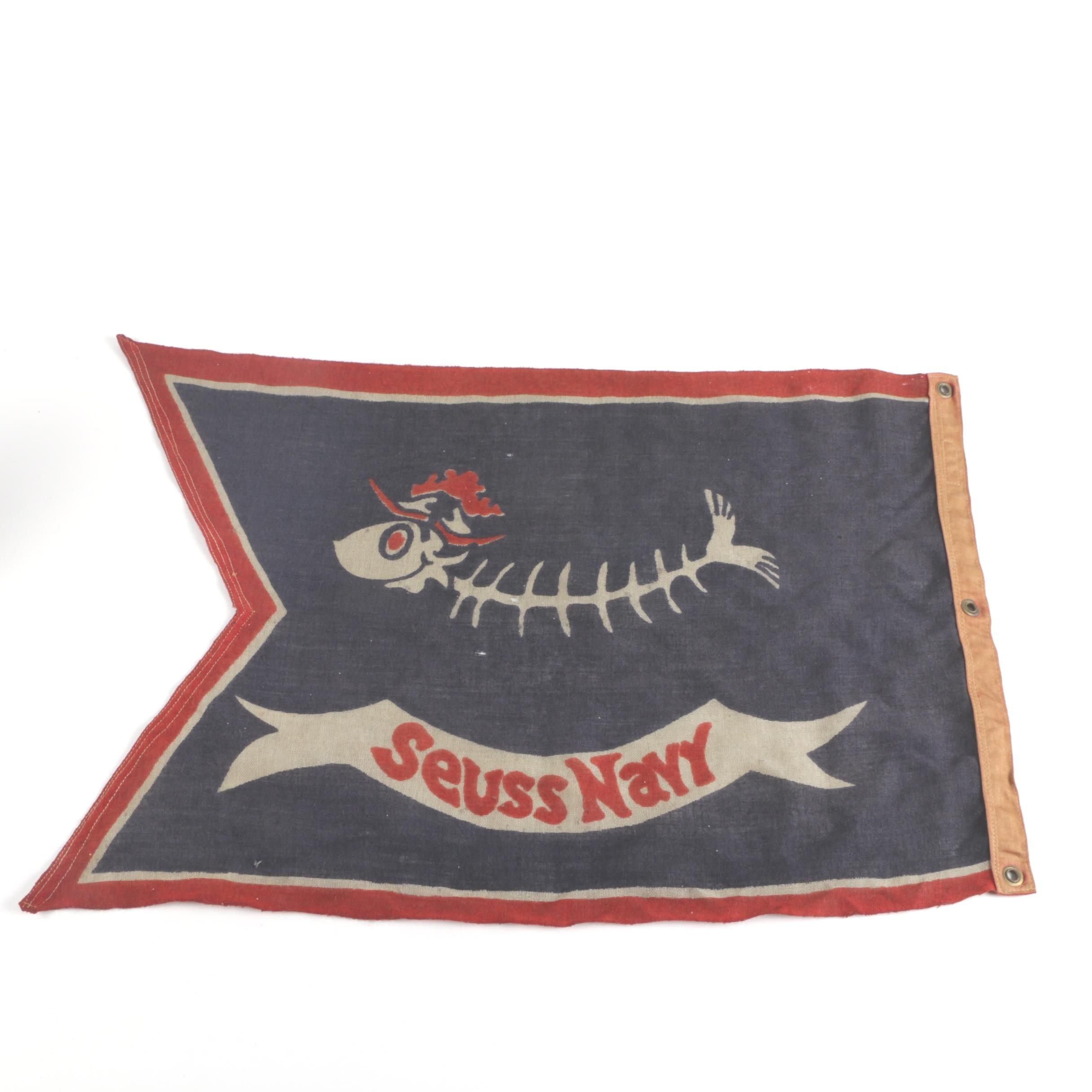 """1930s """"Seuss Navy"""" Cloth Flag"""