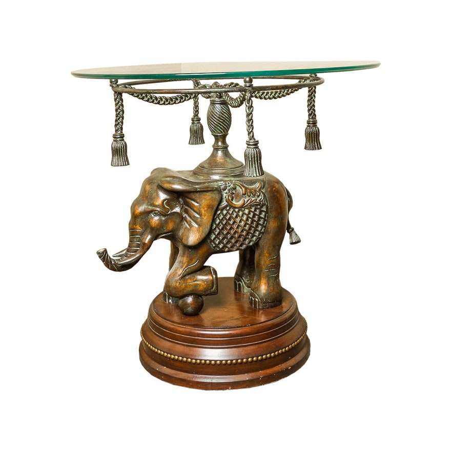 Glass Top Accent Table With Elephant Base : EBTH