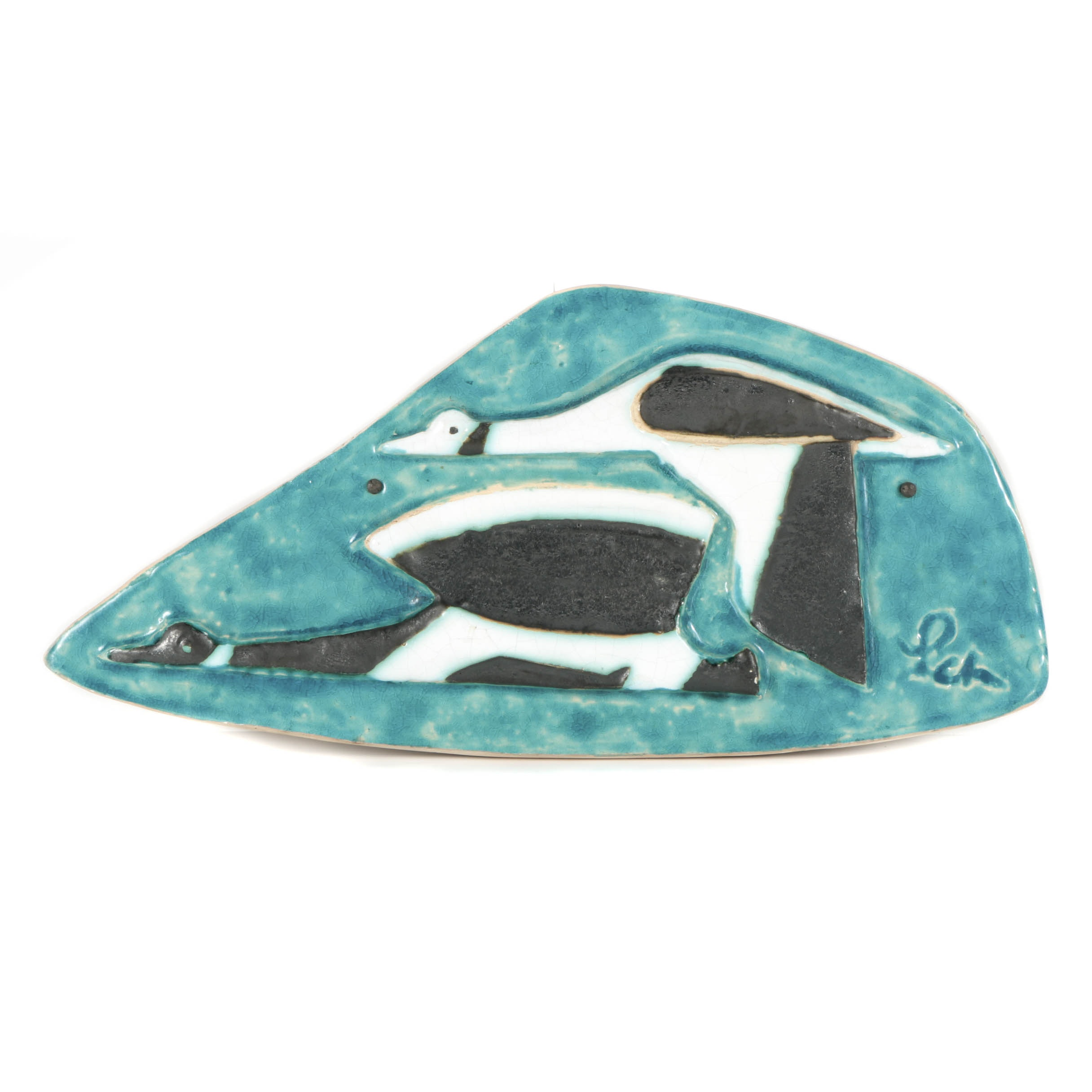 Helmut Schäffenacker Ceramic Wall Plaque of Stylized Ducks