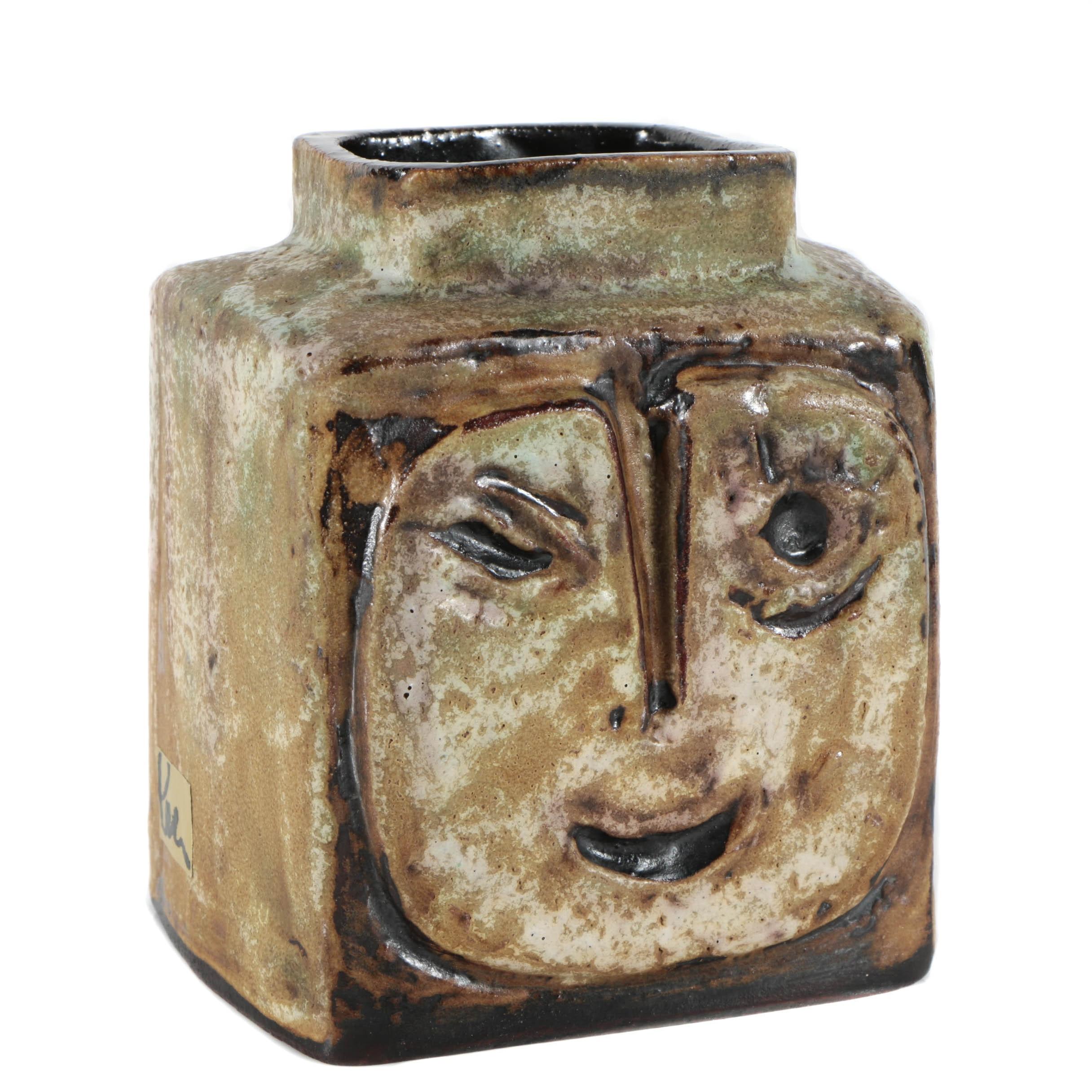 "Helmut Schäffenacker Decorative Vase ""Faces"""