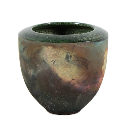 Hand Thrown Stoneware Raku Fired Vase