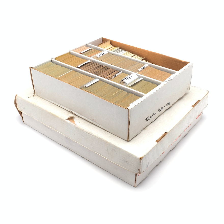 1980s And 1990s Baseball Card Collection In Two Large Boxes