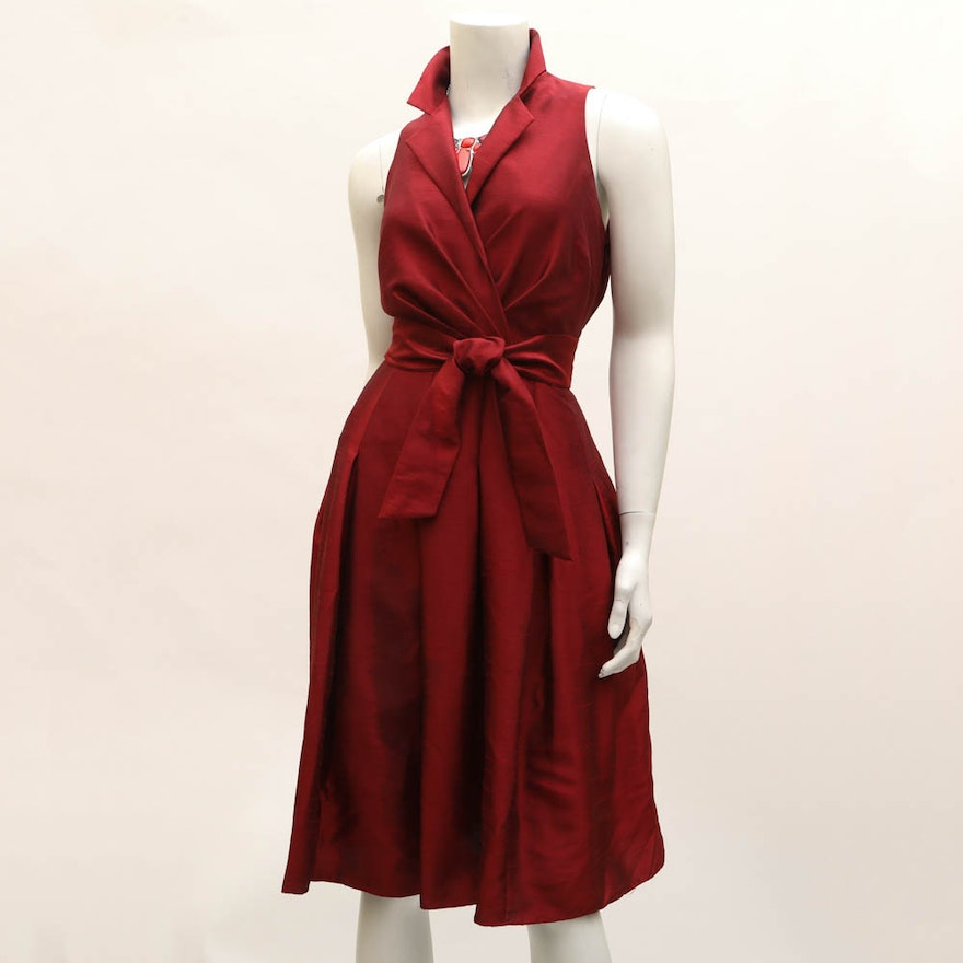 Evan Picone Vintage Red Satin Dress With Statement Necklace Ebth