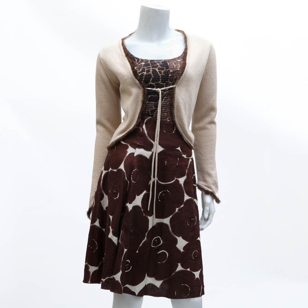 """""""Pam McMahon"""" Skirt, """"Nicola"""" Shell and Vintage Cardigan"""