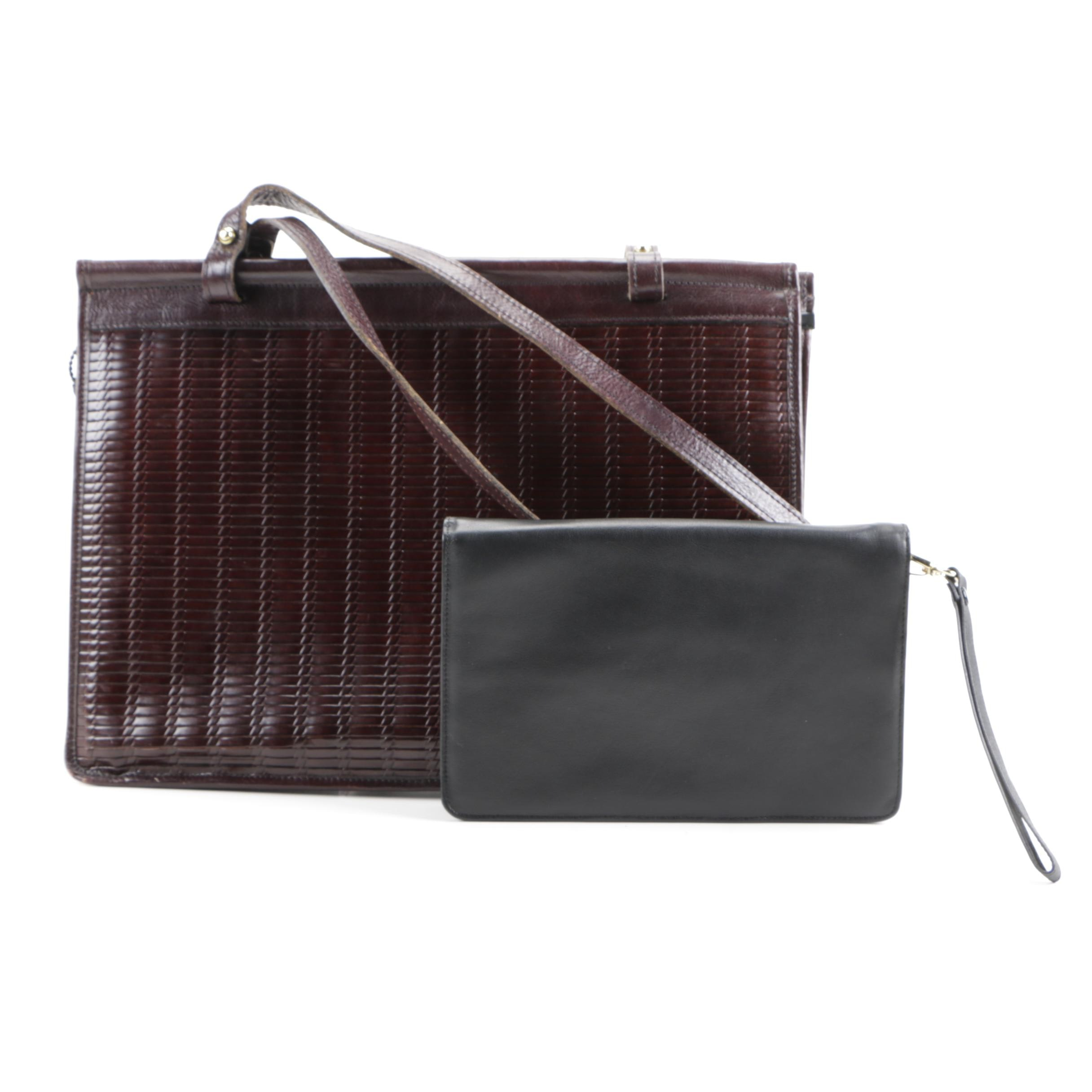 Jack Georges Woven Leather Tote and Traveler Wallet