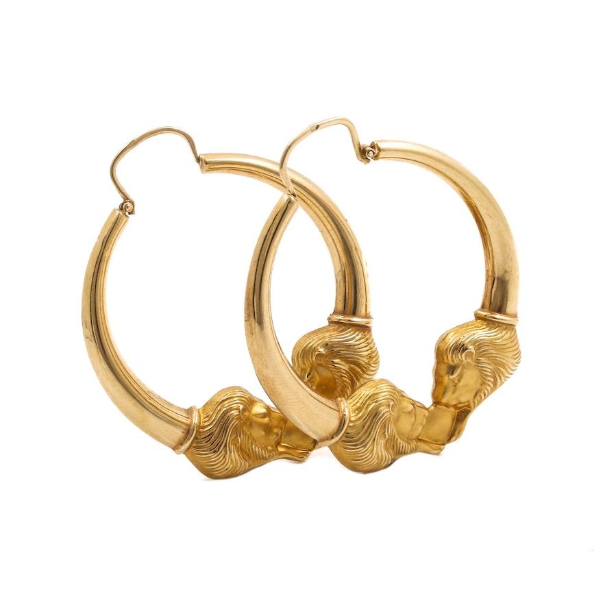 14k Yellow Gold Lion Head Earrings