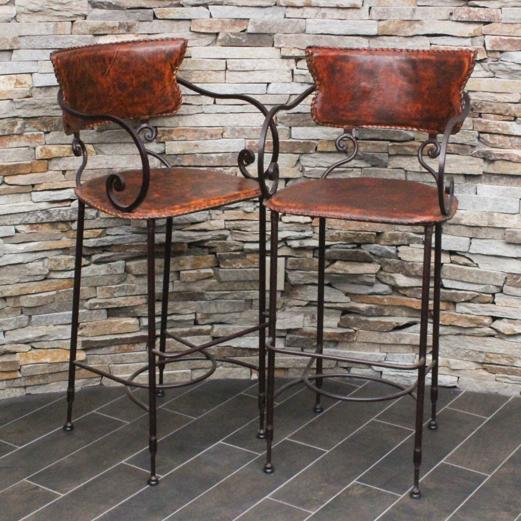 Metal And Leather Bar Stools Ebth