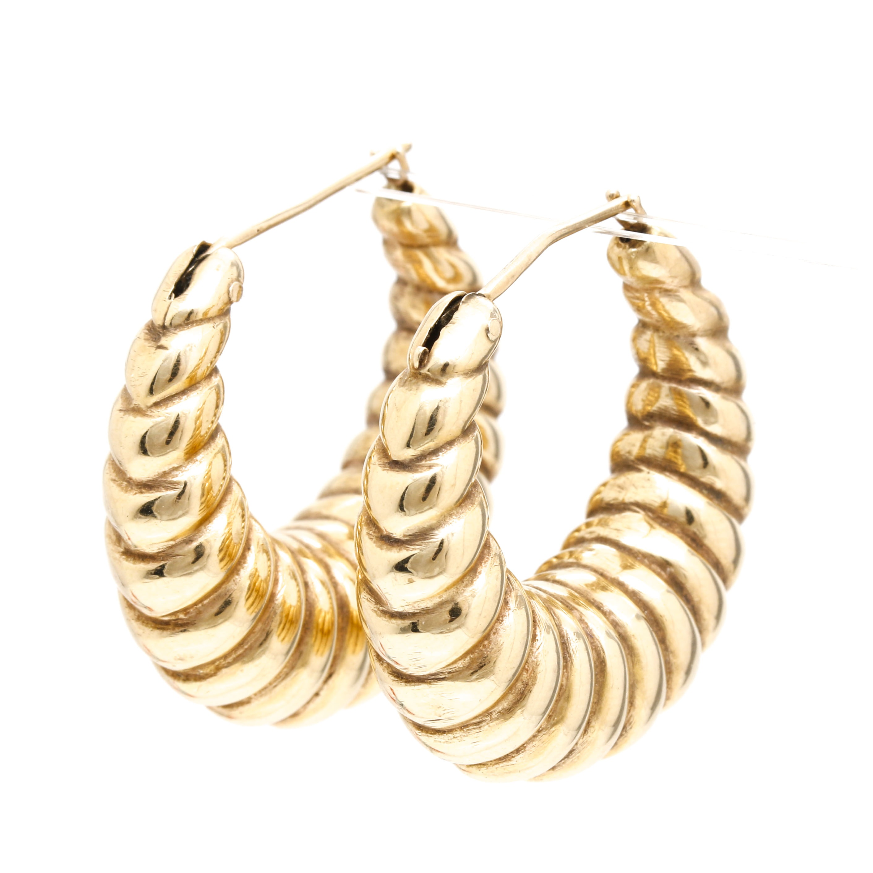 14k Yellow Gold Hollow Shrimp Hoop Earrings Ebth