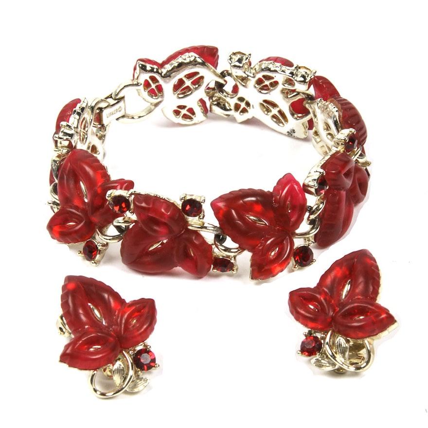 Vintage Lisner Red Rhinestone Bracelet And Earrings