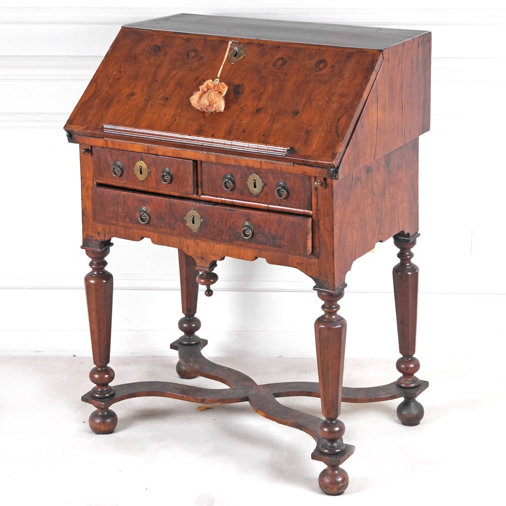 Antique William and Mary Style Burl Walnut Slant Front Desk