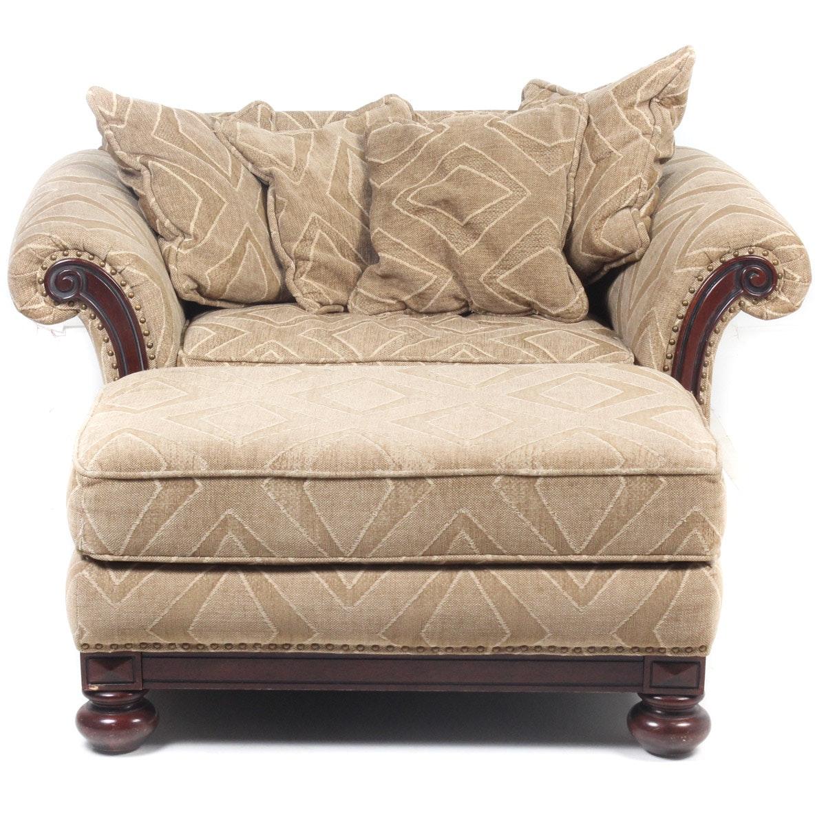 Bernhardt Upholstered Armchair and Ottoman