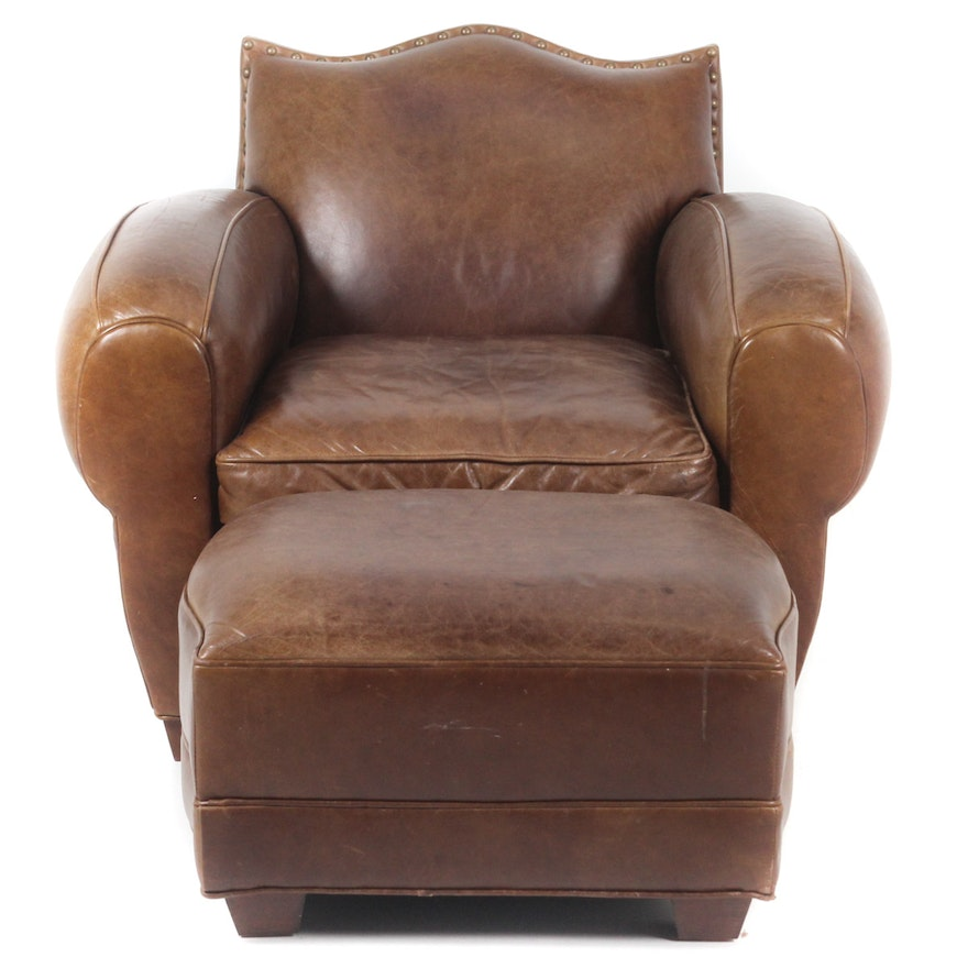Astounding Leather Club Chair And Ottoman By Century Furniture Spiritservingveterans Wood Chair Design Ideas Spiritservingveteransorg