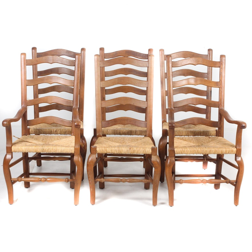 Provincial Style Ladderback Dining Chairs with Rush Seats ...