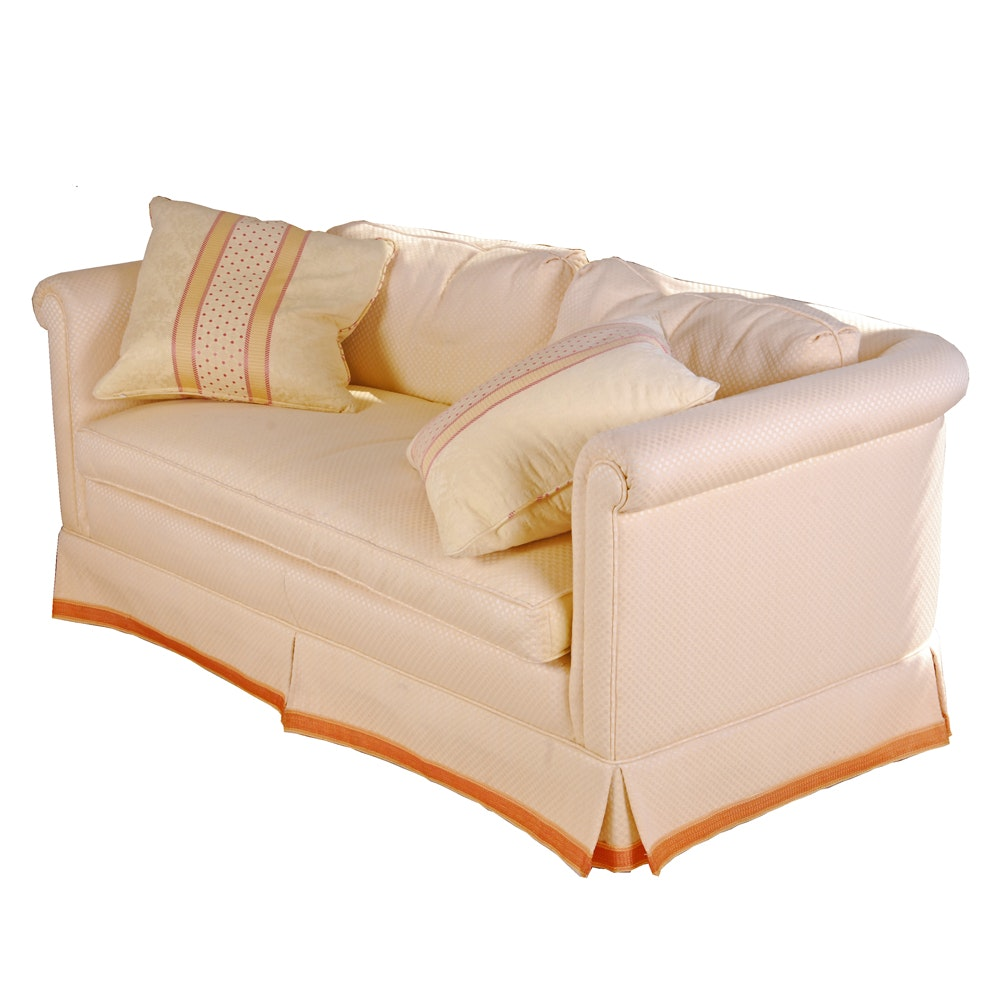 Vintage Upholstered Sofa with Accent Pillows