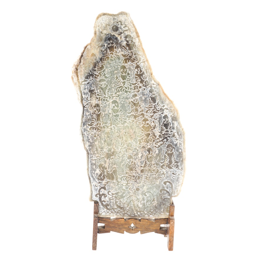 Buddhist Hand-Etched Stone Carving with Wood Display Stand