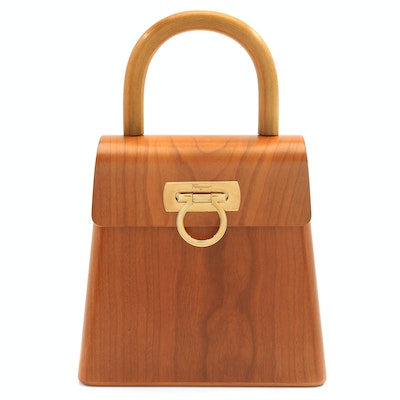 "Vintage Salvatore Ferragamo Marrone ""In The Wood""  Cherry Wood Handbag"