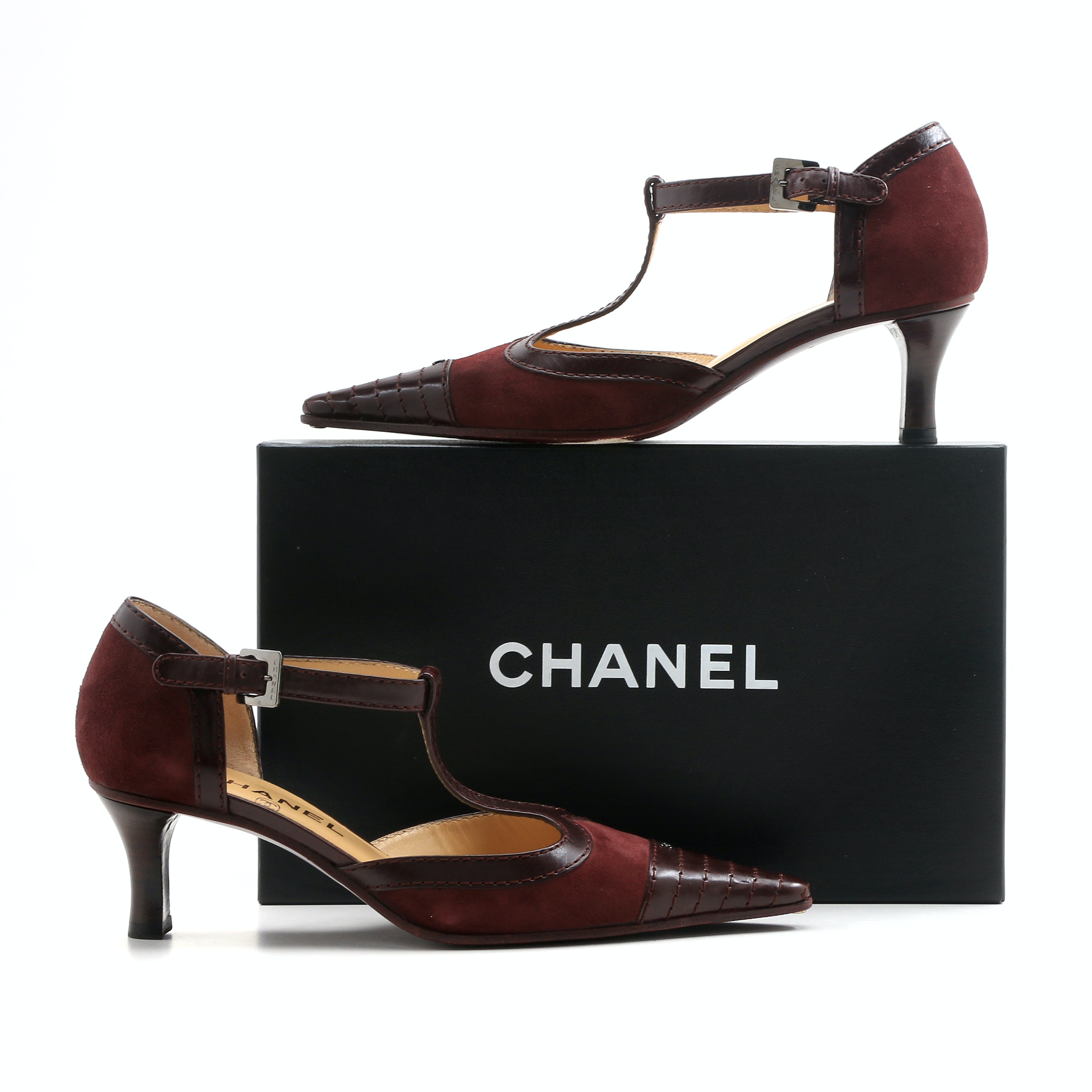 Chanel T-Strap Bordeaux Suede Spectator Pumps