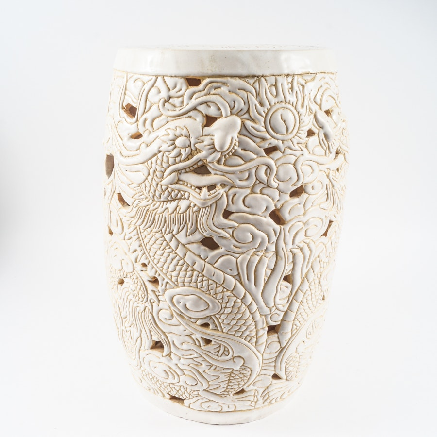 Chinese Style White Ceramic Garden Stool