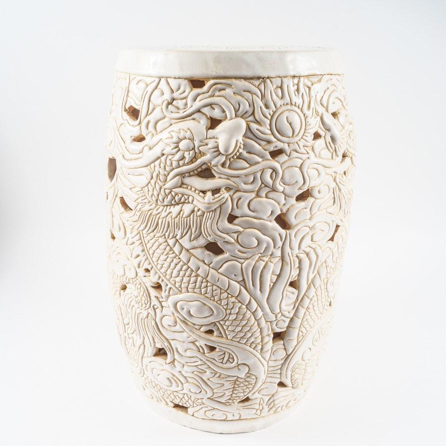 Chinese Style White Ceramic Garden Stool