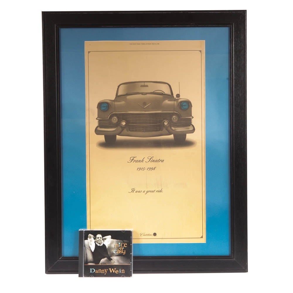 Framed Cadillac Sinatra Ad And Tribute Cd Ebth