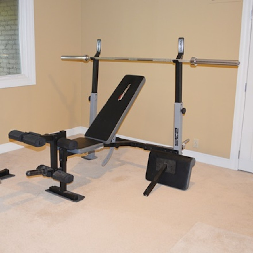 Weider 235 Pro Weight Bench Exerciser Weight Rack And