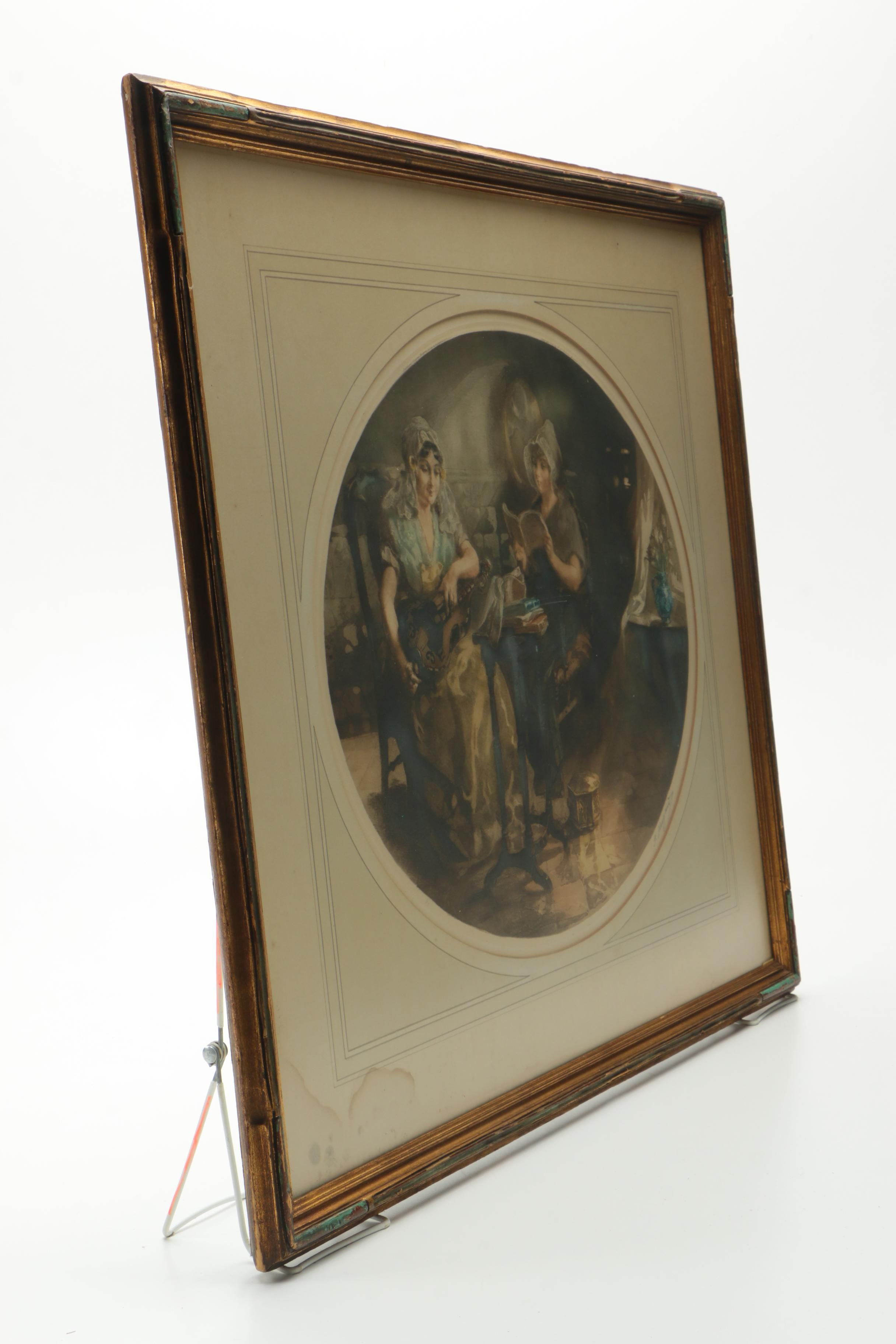 Hugard Hand Colored Intaglio Of Women At Leisure Ebth