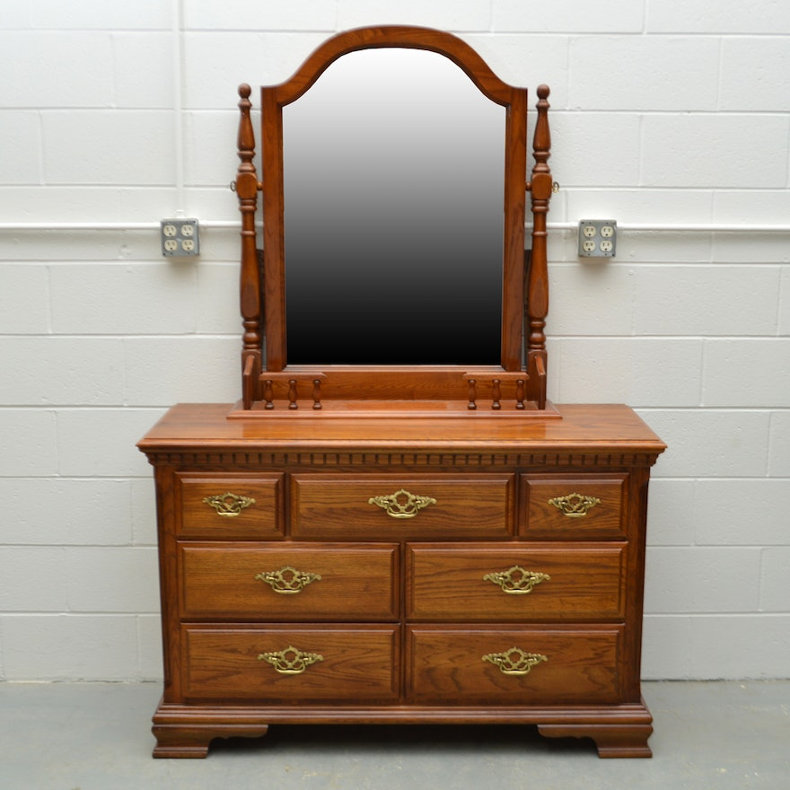 Oak Dresser With Mirror By Sumter Cabinet Company Ebth